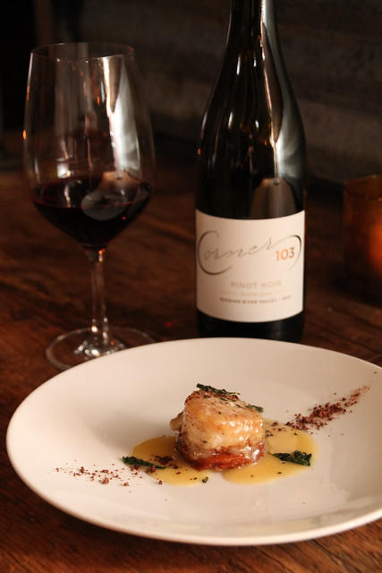 2nd Course: Cocoa nib crusted scallop, potato rosti, white chocolate buerre blanc, candied mint paired with our 2013 Pinot Noir