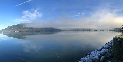 mounttzouhalem vancouverisland marina sailboats foggy mist cowichanbay