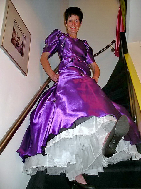 Ball gown on stairs
