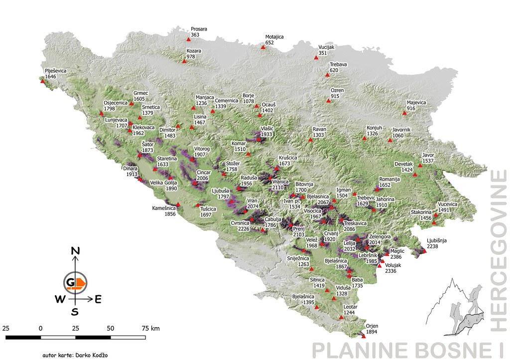 Planine Bih Bosnia And Herzegovina Mountains Map Darko Kodzo