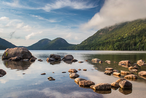 rock usa nature reflection mountains acadia water lake maine cloud acadianp
