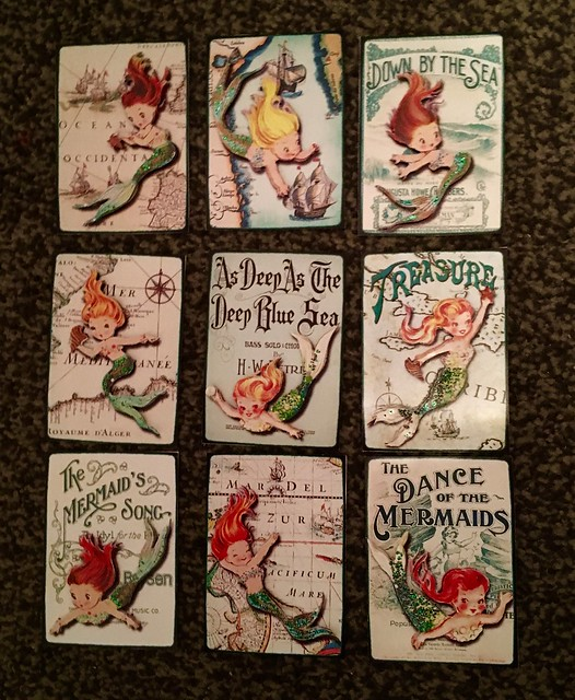 Mermaid ATC's made for a pocket letter swap