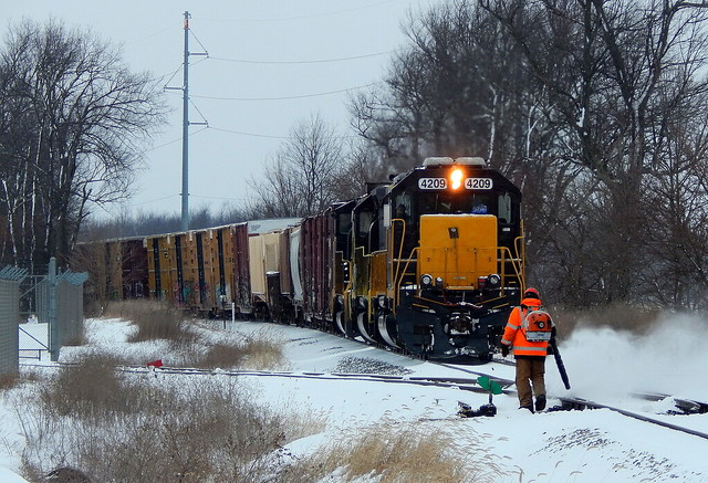 Cleaning out the switch on the Grand Elk Railroad near Schoolcraft Michigan