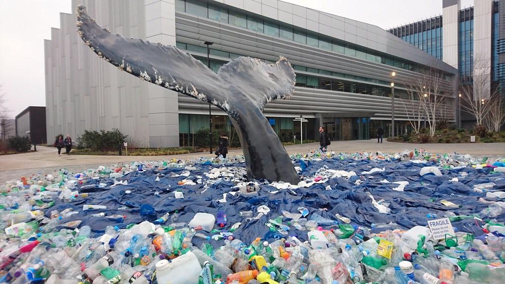 Plastic in the ocean artwork at Sky Central, London