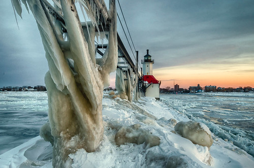 hdr lakemichigan michigan nikon nikond5300 stjoseph stjosephlighthouse catwalk clouds cold evening frozen geotagged ice icicles lake lighthouse pier sky snow sunset water winter saintjoseph unitedstates