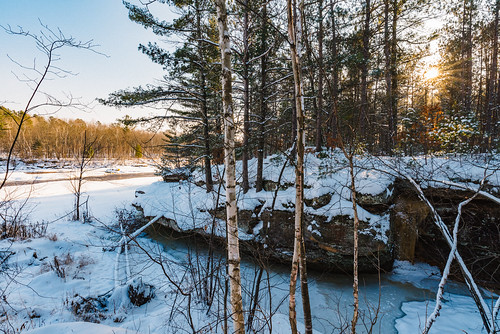 banningstatepark kettleriver minnesota frozen frozenriver ice river sandstone snow sunset winter unitedstates us
