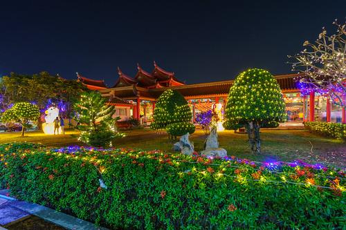 2018 temple architecture buddhism chinese colourful darkness garden landscape light longexposure newyear night shadow th thailand travel traveldestination tree tropical wanderlust