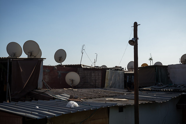 Antennas on steel sheet roofs - Morocco.