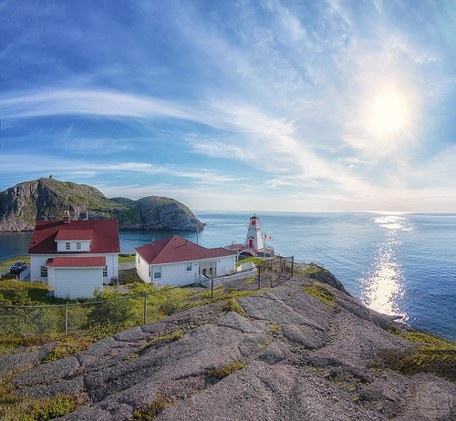 lighthouse panorama newfoundland stjohns fortamherst morning sunrise