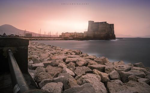 mare sea castello castle napoli campania italia italy nikon d3100 rocks sunrise alba