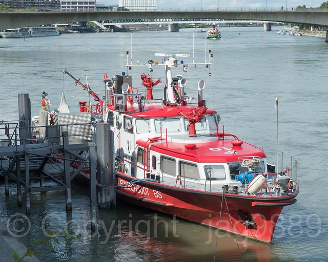 Christophorus Fireboat on the Oberrhein River, Basel, Canton Basel-Stadt, Switzerland