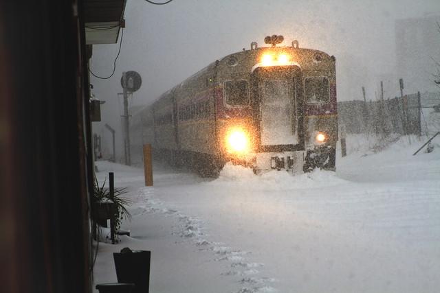 Inbound train to North Station, Boston, during Bombogenesis (2018) ; Wakefield, Massachusetts