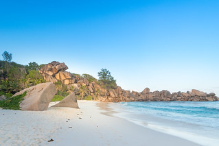 Beautiful beach Grande Anse on the island la digue, Seychelles | by dronepicr