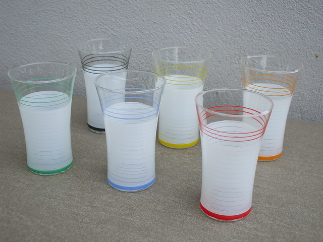 1950's Set of Six Multi-Coloured Frosted Glass Tumblers Mid Century Modern