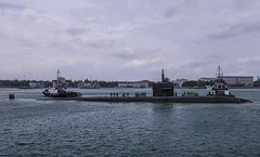 USS Bremerton (SSN 698) approaches Changi Naval Base for a port visit, Feb. 14. (U.S. Navy/MC3 Christopher A. Veloicaza)