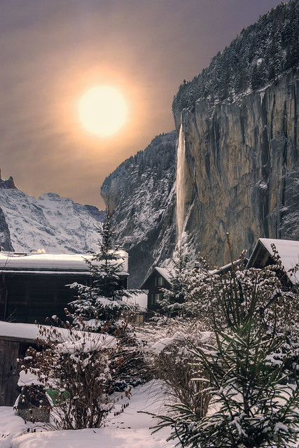 Lauterbrunnen & Staubbach Fall  at winter time. Canton of Bern , Switzerland.29.12.17, 13:39:23 . No, 3924.
