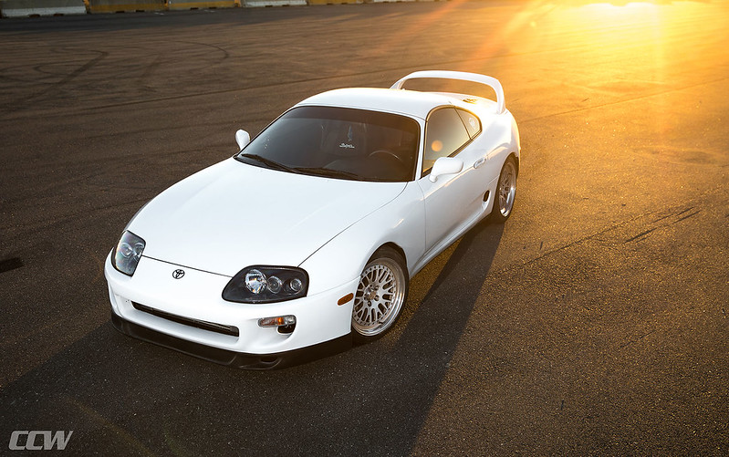 Super White Toyota Supra MKIV Turbo Targa Top - CCW Classic 3 Piece Forged Wheels