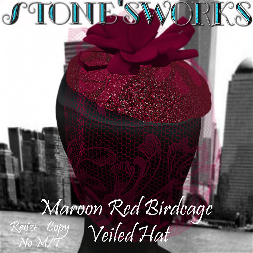Maroon Red Birdcage Veiled Hat Stone's Works_texture