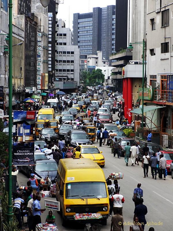 Lagos, Nigeria traffic and pedestrians