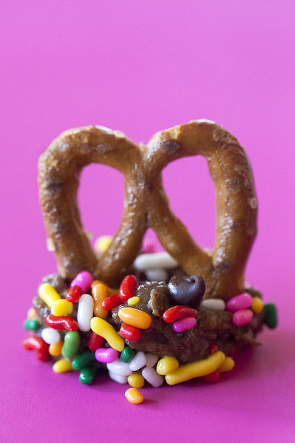 JACKIE ALPERS FOOD PHOTOGRAPHY: chocolate chip cookie butter with sprinkles and pretzel