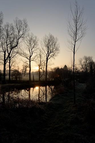 winter frost sunrise sun sky surrey britain british england morning