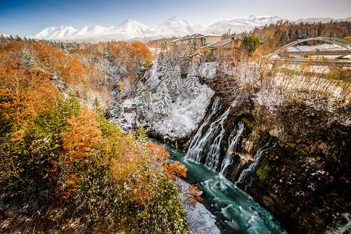 autumn autumncolor biei hokkaido japan shirahige snow waterfall winter xt2 mount mountain