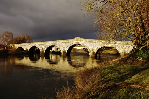 atcham bridge river severn sky clouds storm reflection wet light shropshire