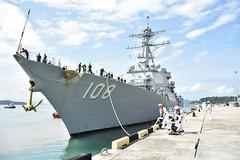 USS Wayne E. Meyer (DDG 108) comes alongside the pier at Kota Kinabalu Naval Base, Feb. 21. (Royal Malaysian Navy)