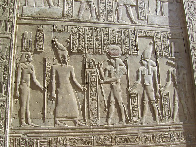 Ancient tomb with fantastic carvings and hieroglyphics, Egypt