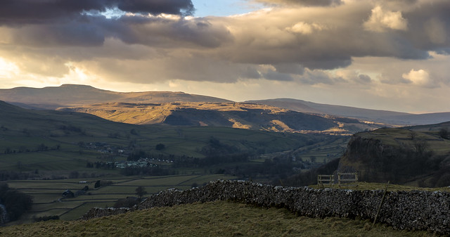 Over the tops of Langcliffe on Monday evening looking up to Ingleborough in the distance, the light was stunning on the fells.