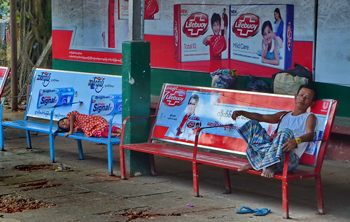 world travel reise viajes asia southeastasia birmania birma burma myanmar yangon trailwaystation people peopleoftheworld städte street stadtlandschaft streetlife streetart city ciudades cityscape cityview outdoor advertising bench