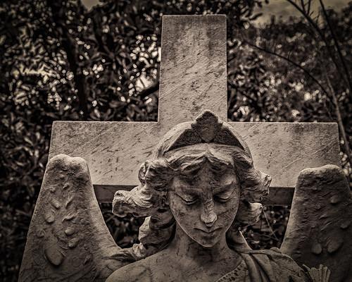 angel bw blackwhite blackandwhite burialground cemetery cross grave gravestone graveyard memorial monochrome monument sepia tombstone houston texas unitedstates us hank