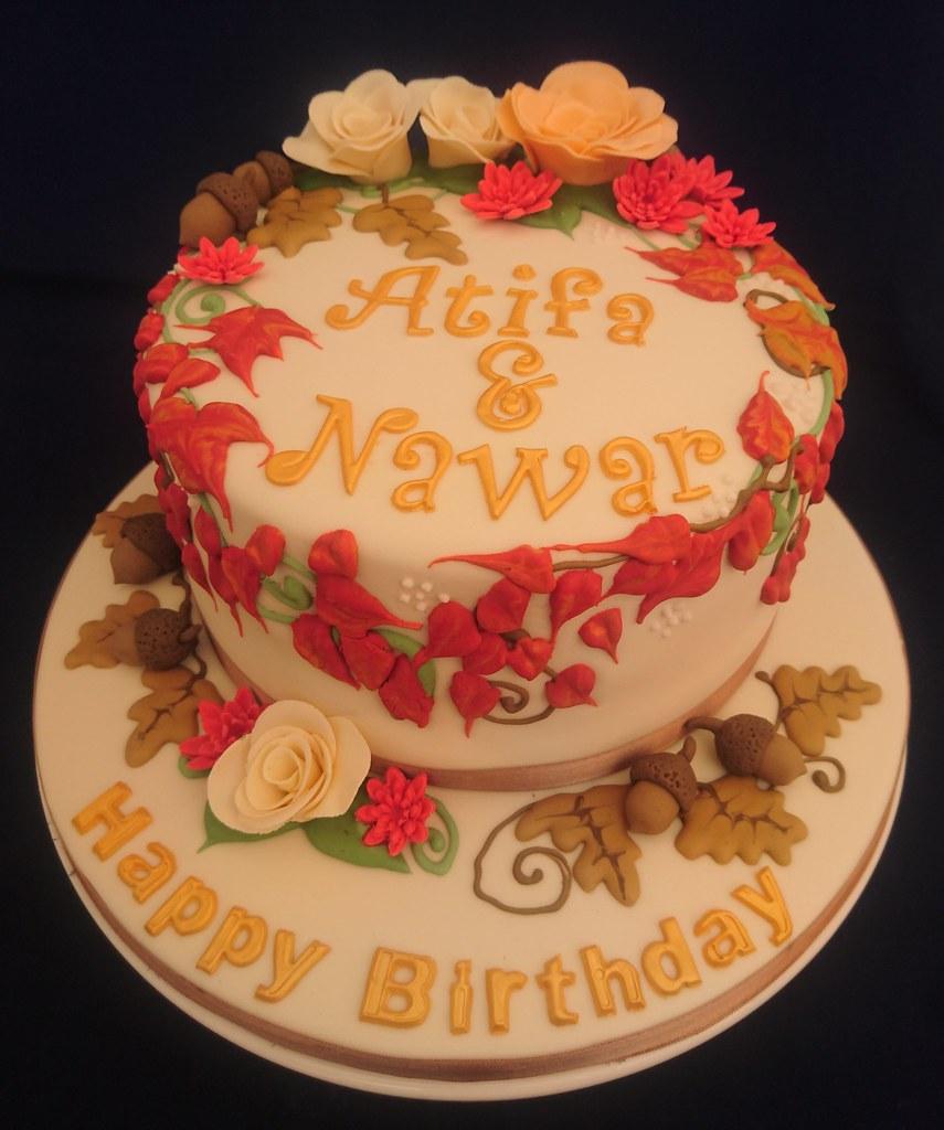 Amazing Autumn Themed Birthday Cake Geraldine Horton Flickr Funny Birthday Cards Online Unhofree Goldxyz