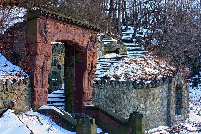 Gate to stairway.  Could be in Middle Earth?
