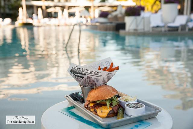 Bacon cheeseburger with sweet potato fries