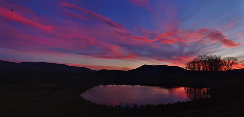 sunset new lebanon york upstate reflection wow clouds color trees mountains nature beauty outdoors sky light nikon d610 landscape pano panorama panoramic rwgrennan rgrennan planet earth farm hill pond water ny columbia county dusk november world moon birds taconic berkshire