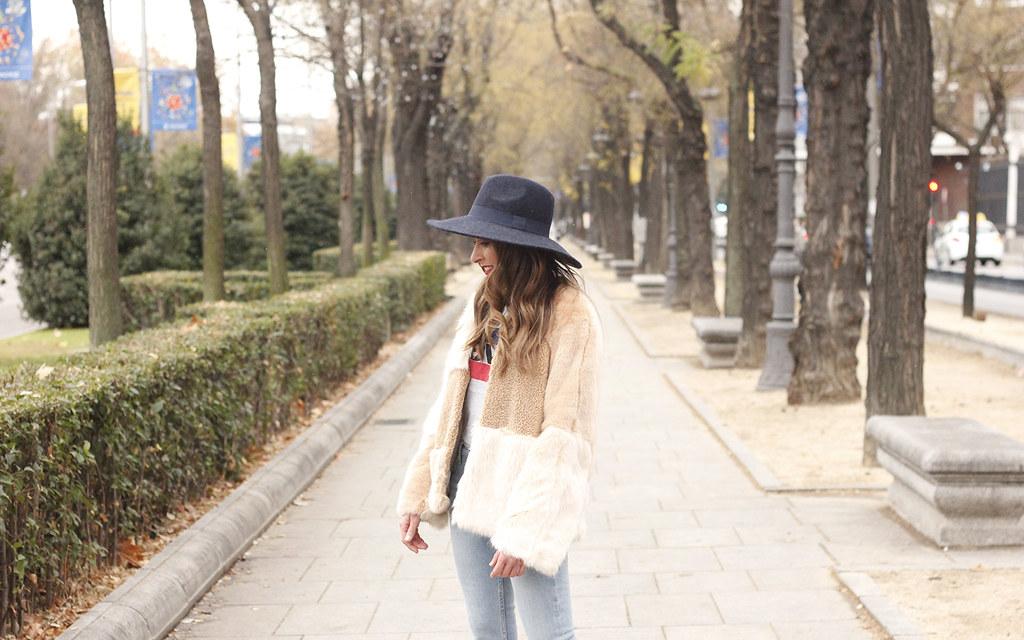 576e67b4 ... Beige faux fur coat zara blue hat nude heels jeans style fashion outfit  winter 12