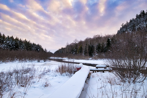 winter river dusk cloud pier wild