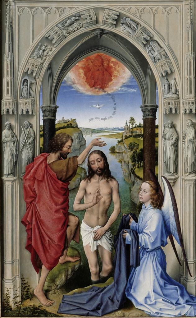 Rogier Van Der Weyden Johannesaltar Taufe Jesu Am Jordan