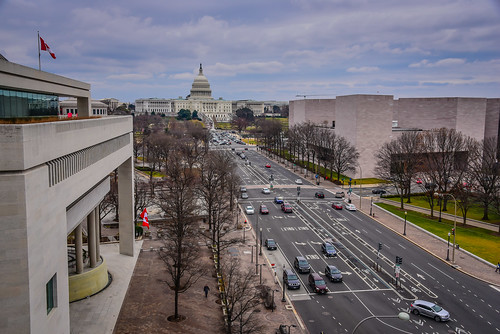 US Capitol Building and Pennsylvania Avenue viewed from The Newseum - Washington DC