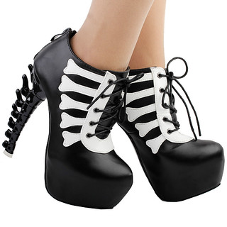 LF80649-Punk-Black-White-Skull-Two-Tone-Lace-Up-High-top-Bone-Heels-Platform-Ankle-Boot
