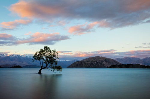 mountains clouds water landscape calm exterior lake longexposure newzealand nz outdoor southisland sunset tree