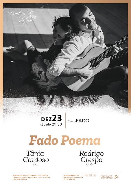 CONCERTO IN FADO - Duetos da Sé - Alfama Lisboa - SÁBADO 23 DEZEMBRO 2017 - 21h30 - Fado Poema - Tânia Cardoso - Rodrigo Crespo