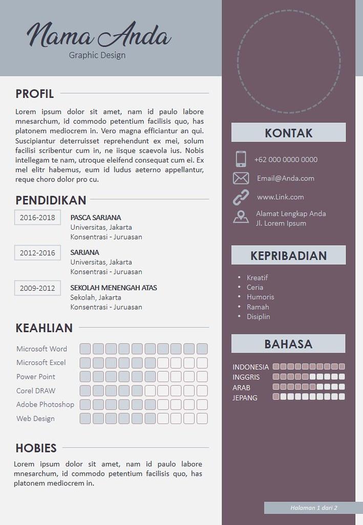 Cover Template Daftar Riwayat Hidup Cv 1 Kunjungi Asthra
