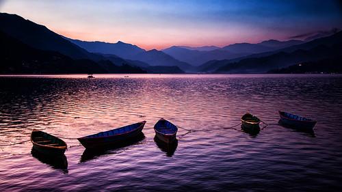 nepal pokhara westerndevelopmentregion lake phewa sunset