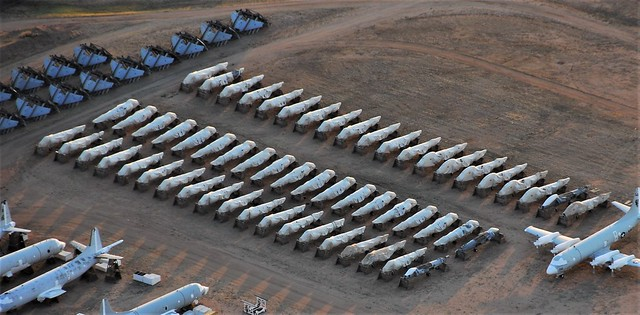 58 former Royal-Air-Force/ RAF & Royal-Navy/ RN British Aerospace Harrier GR-7, GR-9 and T-10 fuselages. Seen stored at Davis-Monthan AFB/ AMARG, Tucson, Arizona. 05-06-2016.