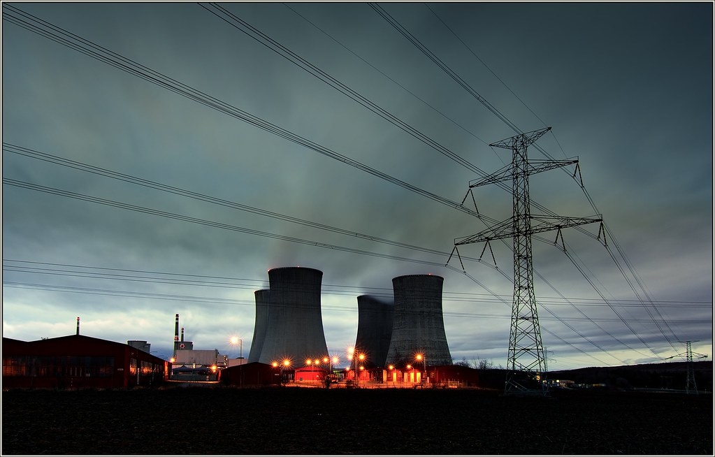 Nuclear power plant, early in the morning