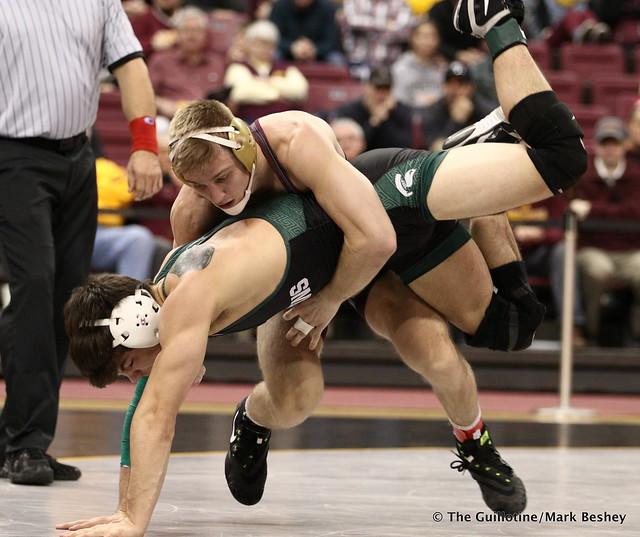 165 No. 9 Nick Wanzek (Minnesota) maj. dec. Austin Hiles (Michigan State) 15-7. 180107AMK0061