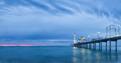 sunset adelaide australia blue bluehour twilight cloud sky beach water ocean seascape seaside longexposure olympusem10 olympus olympusomd southaustralia panorama panoramic pier jetty vivid microfourthirds light