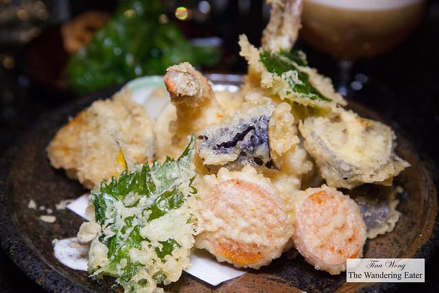 Seasonal tempura selection with jumbo shrimp